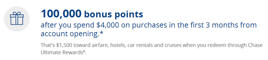 Chase Sapphire Reserve original 100,000 sign-up offer