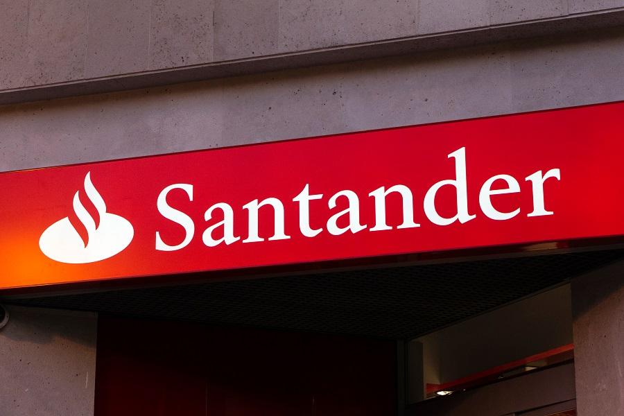 Santander logo on building sign