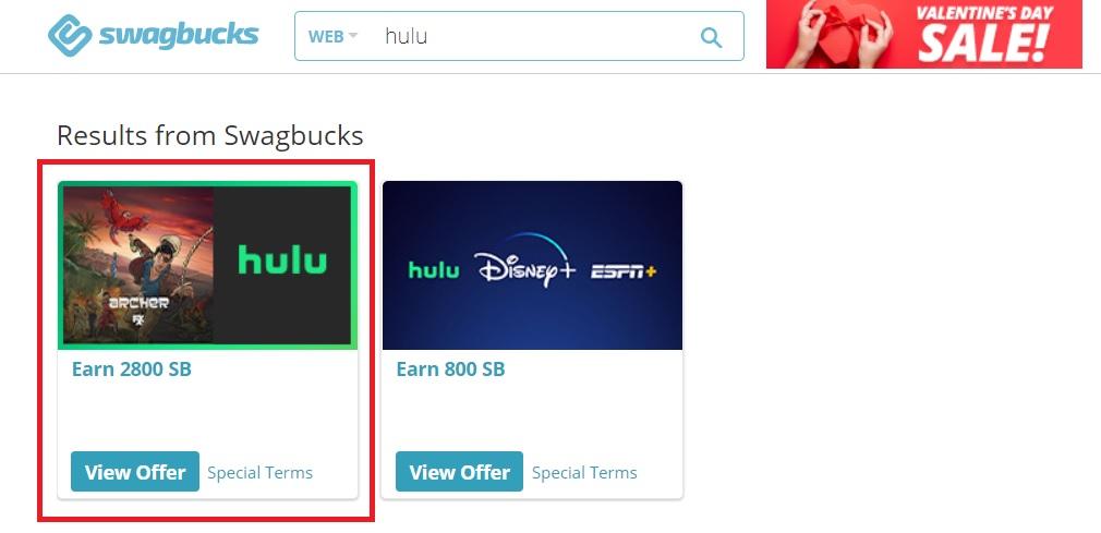 Screenshot of Swagbucks' Hulu subscription offer
