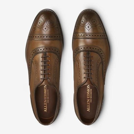 Allen Edmonds Strand cap-toe dress shoes in burnished copper color