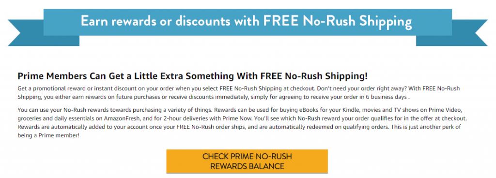 Amazon No-Rush rewards balance check