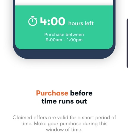 Use a claimed offer within 4 hours