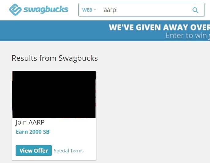 Swagbucks' AARP deal for 2,000 SB
