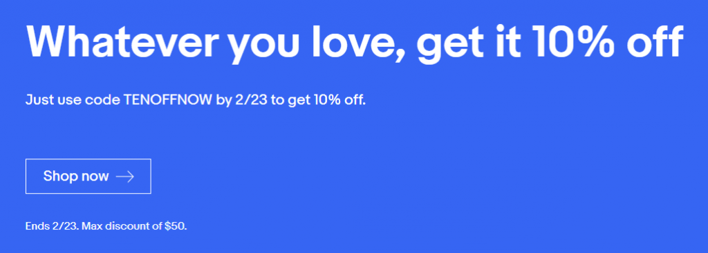 eBay 10% promotion with coupon code TENOFFNOW