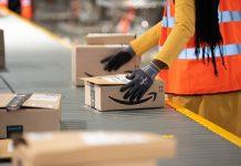 Amazon boxes on conveyor belt