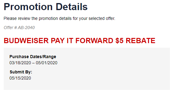 Budweiser Pay It Forward $5 rebate