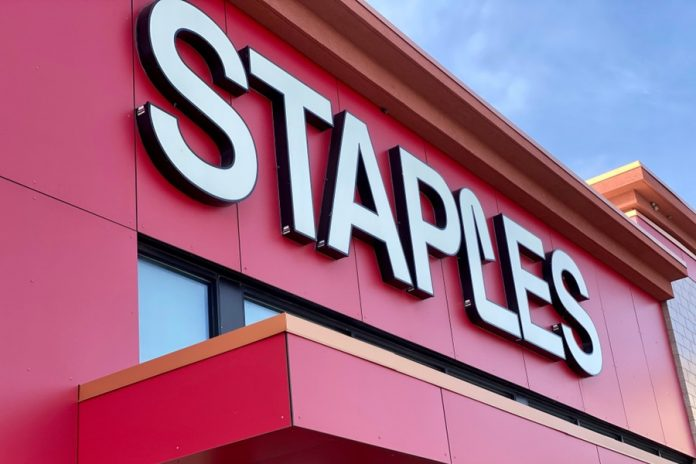 Staples logo on store front