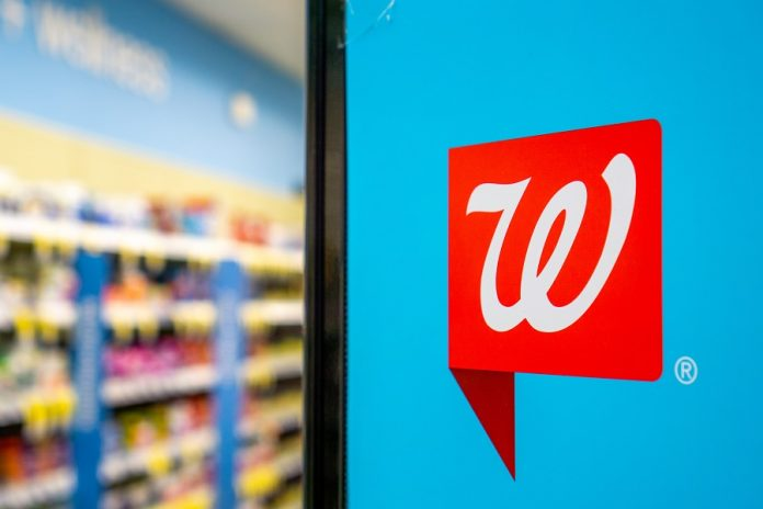 Walgreens logo inside store display