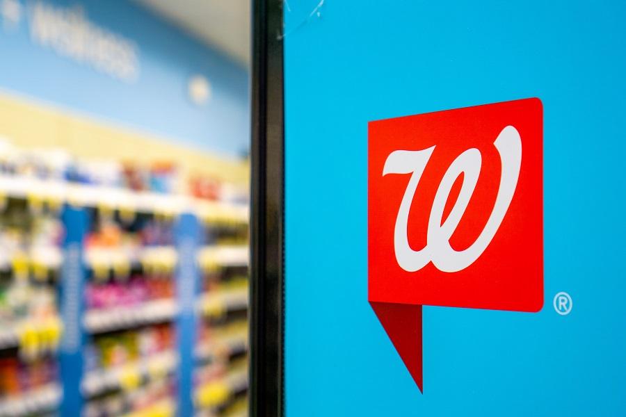 Walgreens logo inside store display