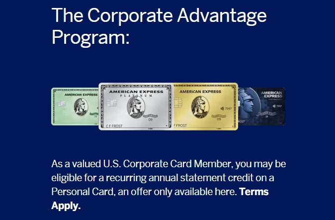 American Express Corporate Advantage Program landing page