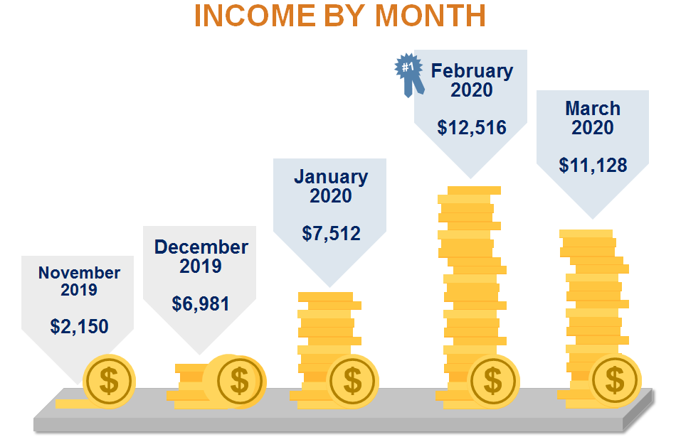 Blog Income by Month (November 2019 to March 2020)