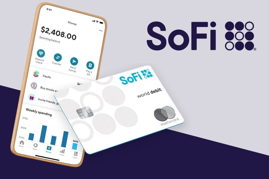 SoFi Money with phone and debit card