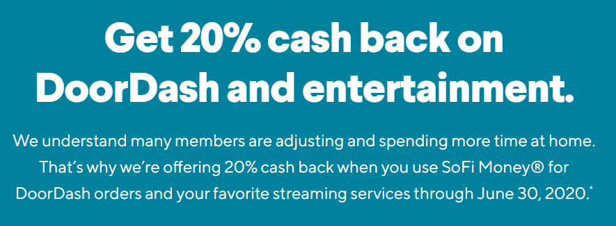 SoFi Money 20% back on DoorDash and entertainment