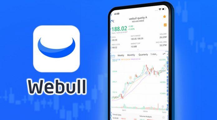 WeBull logo with WeBull app on phone
