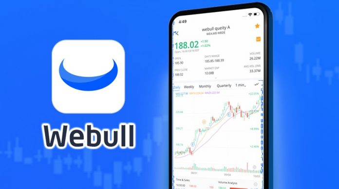 WeBull logo with WeBull app on phone
