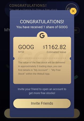 Free stock of GOOG (Google) on the Webull app
