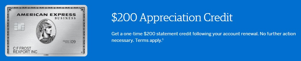 AMEX Business Platinum $200 annual fee credit