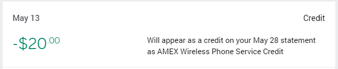 AMEX Platinum $20 monthly wireless credit