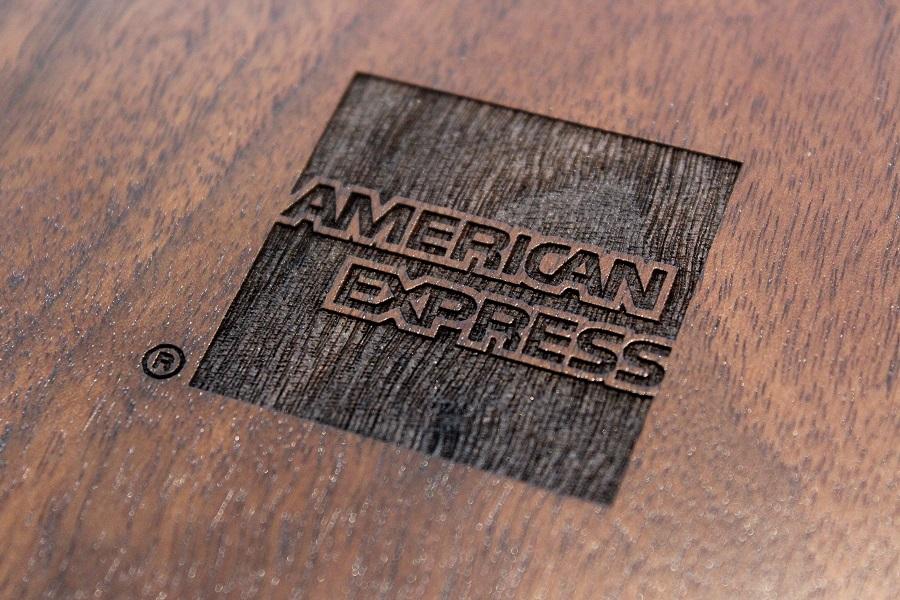 American Express wooden stamp logo