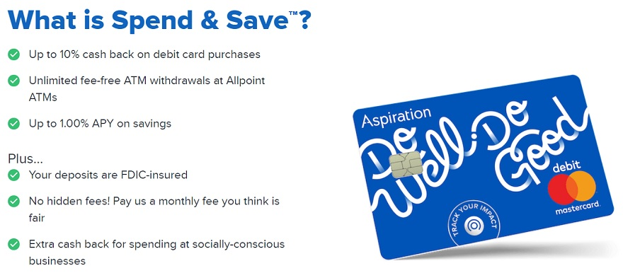 Aspiration Spend & Save checking account