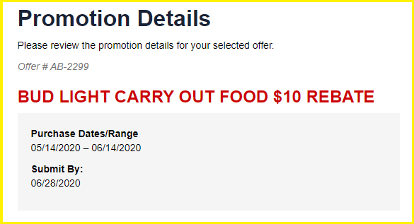 Budweiser Carry Out Food promo $10 rebate