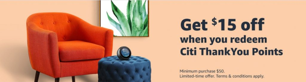 Citi ThankYou points $15 off $50 at Amazon promotion