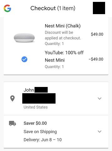 free Google Nest Mini order summary