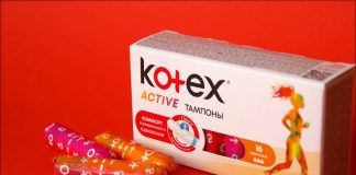 Kotex tampons box with red background