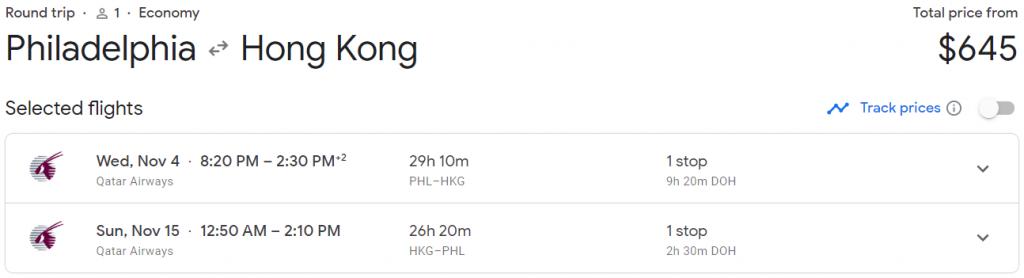 Qatar Airways round-trip flight from Philadelphia to Hong Kong for $645