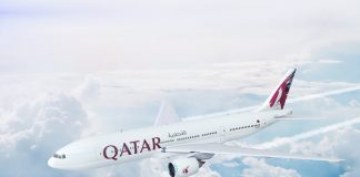 Qatar Airways plane flying in the sky
