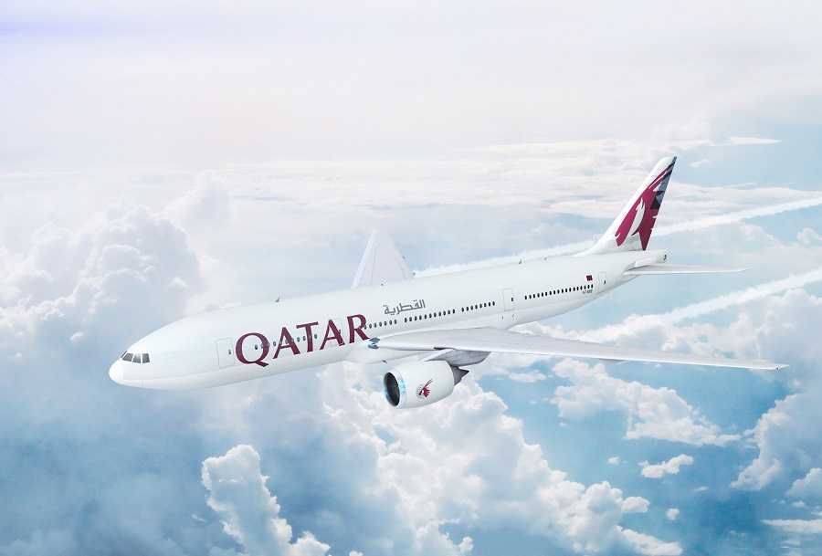Qatar Airways plane flying in the sky
