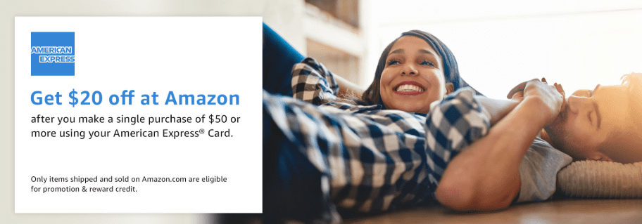 Get $20 off at Amazon after you make a single purchase of $50 or more using your American Express card