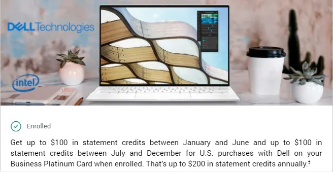 $200 Dell statement credit benefit for American Express Business Platinum cardholders