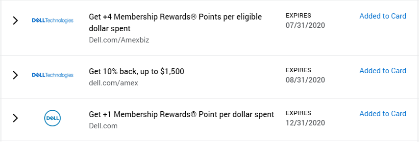 Amex Offers for Dell.com