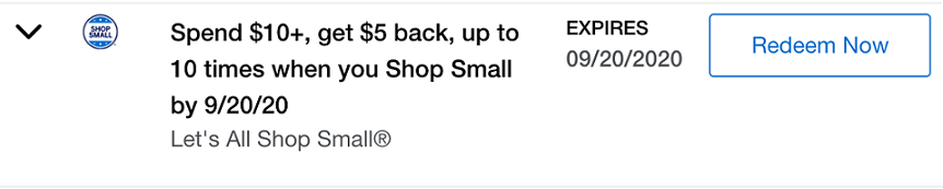 Amex Offers Shop Small Business - Spend $10+ and Get $5 Back, up to 10 times