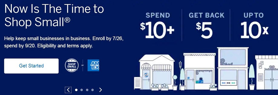 """""""Now is the time to Shop Small"""" ad block by American Express"""