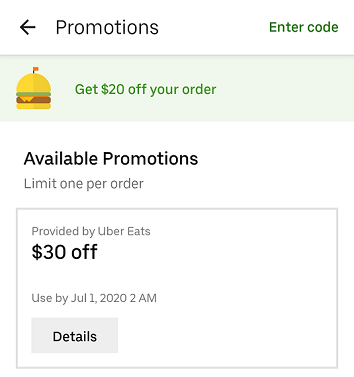 Eats Pass $30 discount promo