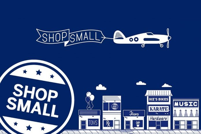 Shop Small Business blue background