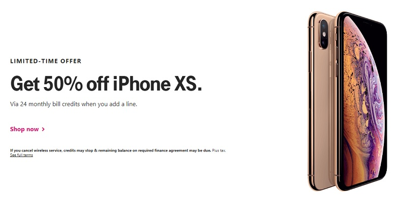 T-Mobile 50% off iPhone XS promotion