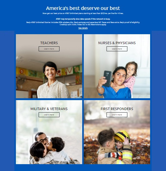 """AT&T """"America's best deserve our best"""" promotion"""