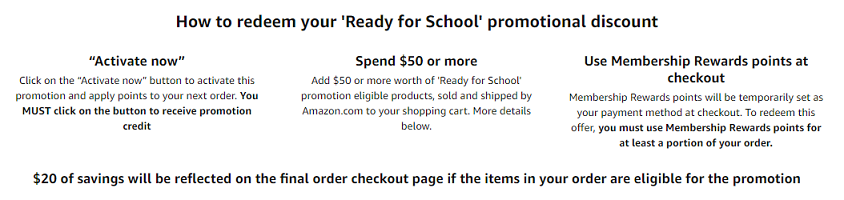 "How to redeem Amazon's ""Ready for School"" promotional discount"