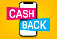 Cash back phone pop-out on yellow background