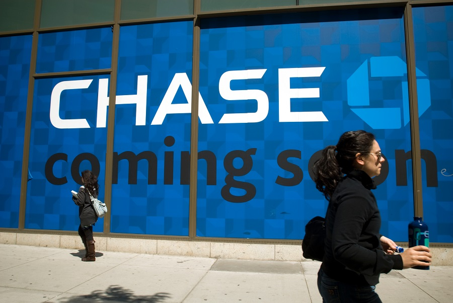 Chase logo on building wall