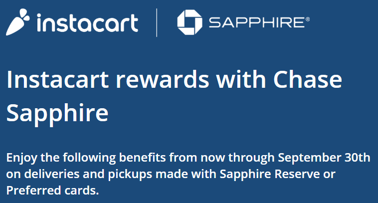 Chase Sapphire Instacart benefit