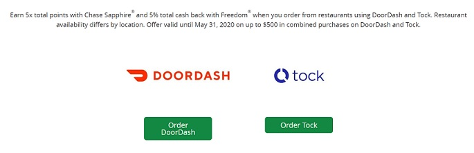 DoorDash and Tock benefits for Chase Sapphire cards