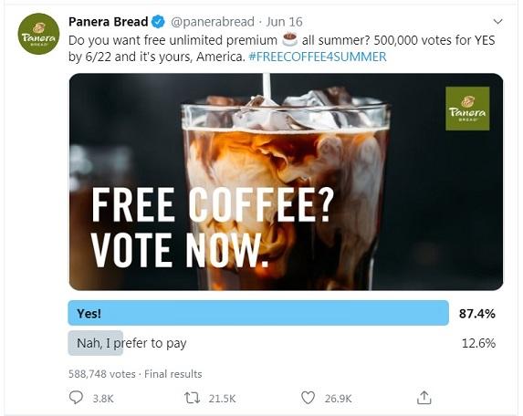 Panera Bread #FREECOFFEESUMMER Twitter challenge