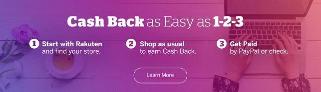 Rakuten 3 steps to earn cash back