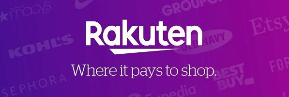 Rakuten logo and slogan over purple background