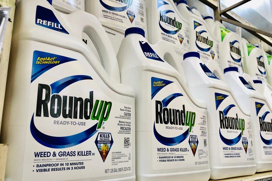 Roundup Weed Killer bottles on store shelf
