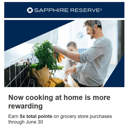 Chase Sapphire Reserve 5x points on grocery store purchases